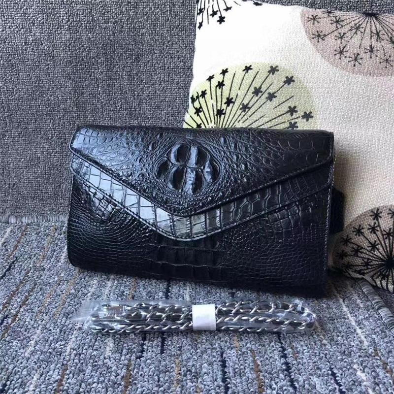 أصيلة الغريبة التمساح الجلد المرأة المغلف محفظة حقيقية جلد التمساح سيدة رفرف حقيبة الإناث واحد عبر الكتف حقيبة