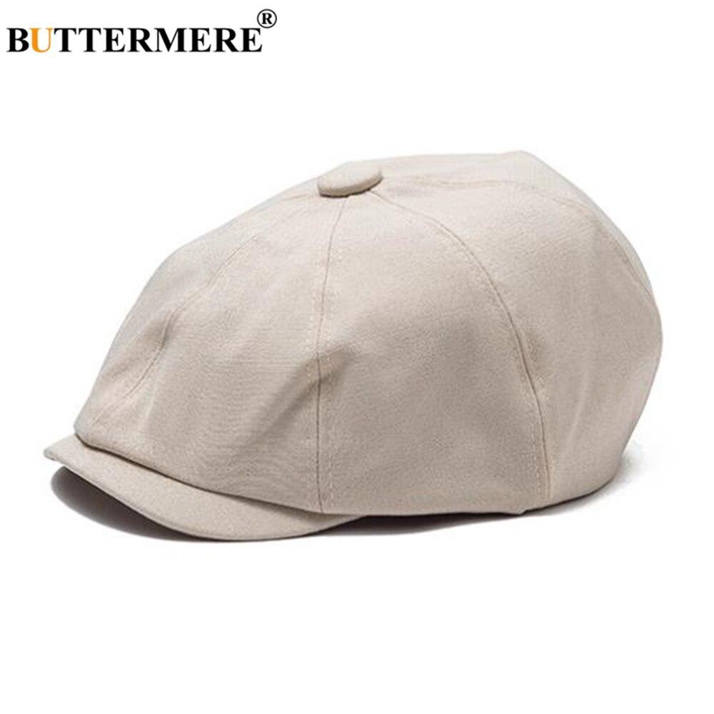 BUTTERMERE blanco Newsboy Cap mujeres hombres Primavera Verano boina en color liso sombrero Vintage Masculino Femenino Casual negro pintor gorra plana