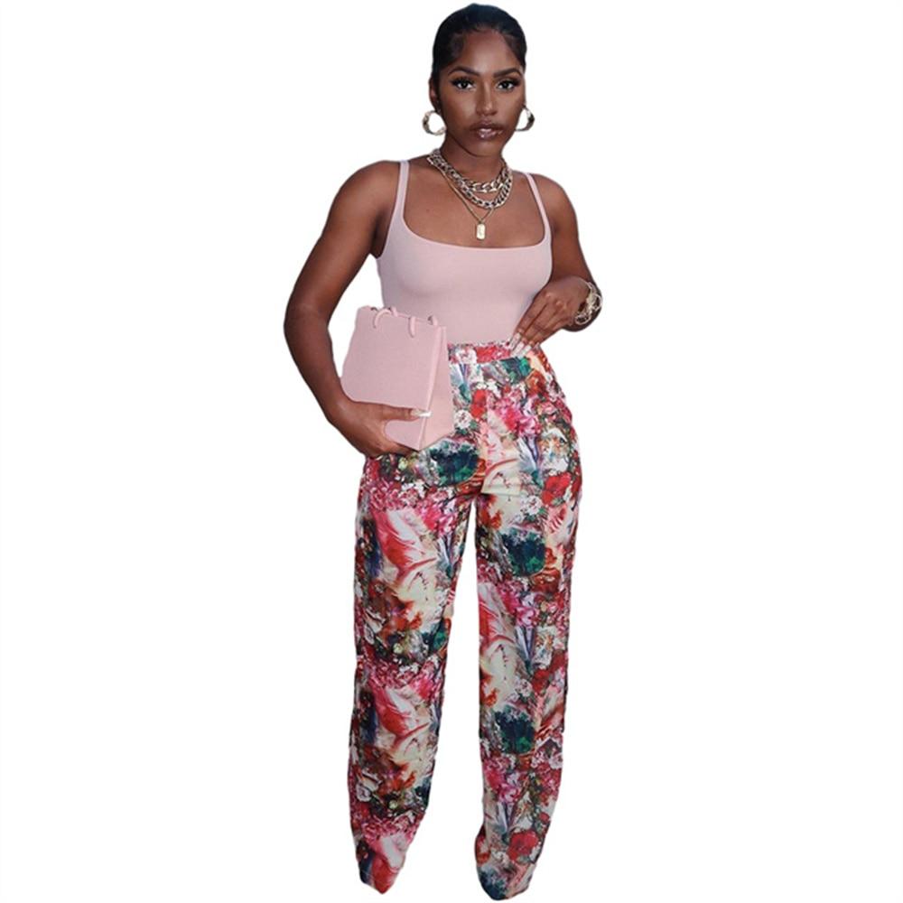 Женские прямые брюки с высокой талией, винтажные прямые брюки в стиле ретро с цветочным принтом, лето 2021