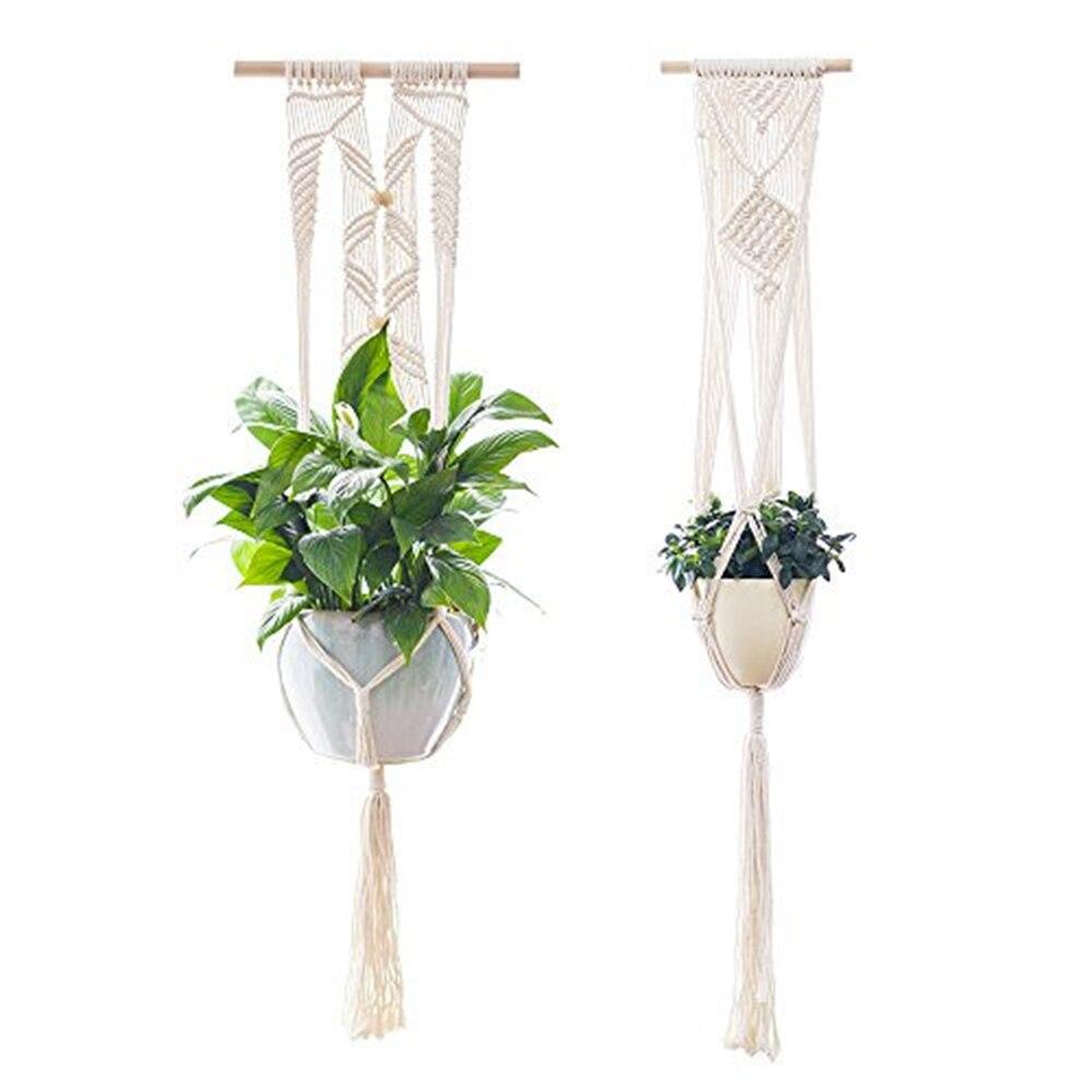 2 pçs planta gancho flor pote titular macrame pendurado plantador cesta corda