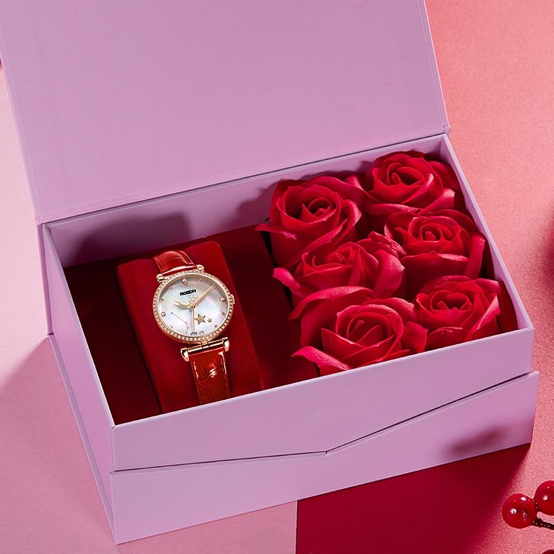 ROSDN12 Constellation Brand Genuine Women's Watch Women's Watch Simple Fashion Quartz Women's Watch Leather Strap enlarge