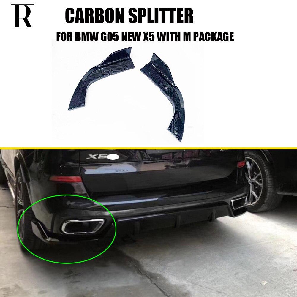 G05 X5 Carbon Fiber Rear Bumper Side Splitter Apron for BMW G05 New X5 M-tech M-sport Bumper Only 2019 UP