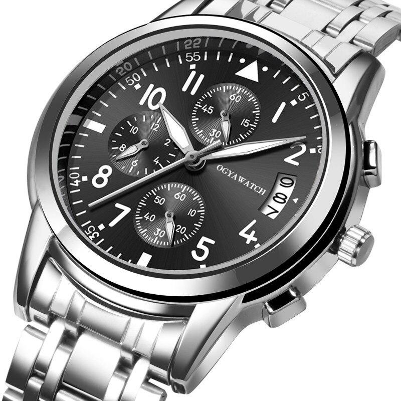 Модные мужские часы из нержавеющей стали, топовый бренд, роскошные светящиеся спортивные часы, мужские часы с автоматической датой, мужские...