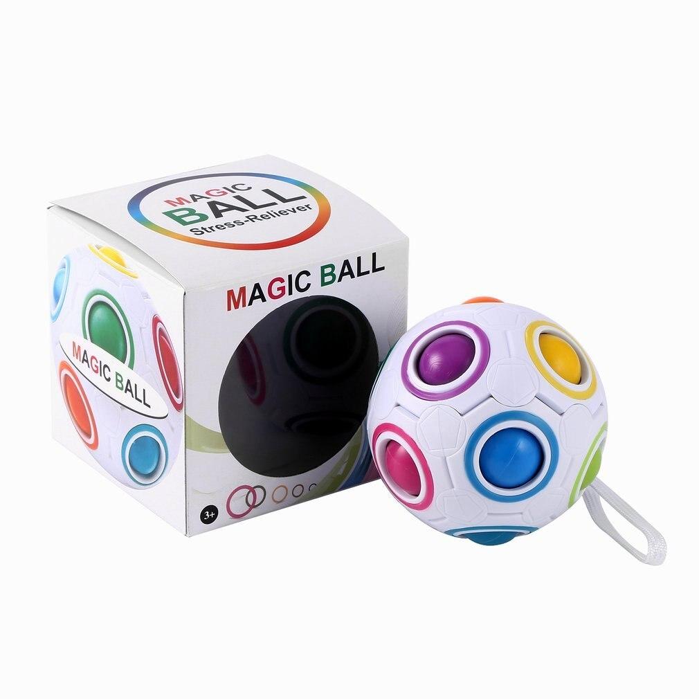 Ocday arco-íris bola mágica cubo de futebol velocidade quebra-cabeça bloco bola brinquedos educativos aprendizagem para crianças adulto estresse reliever quente