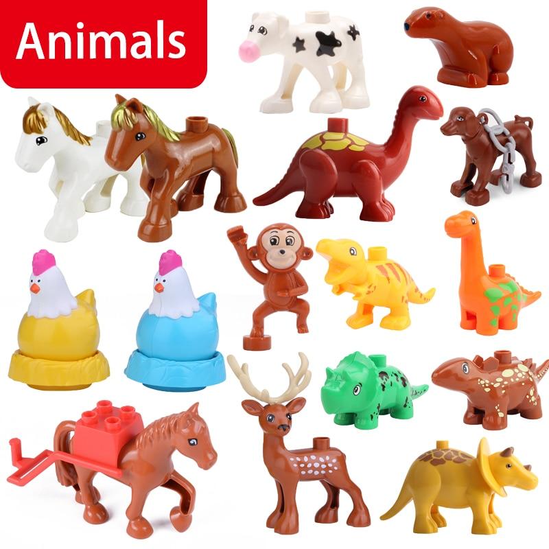Duplo Animals Figure Monkey Panda Penguin Chicken Horse Dinosaur Toys For Children Big Size Friends Building Blocks Duplo Animal