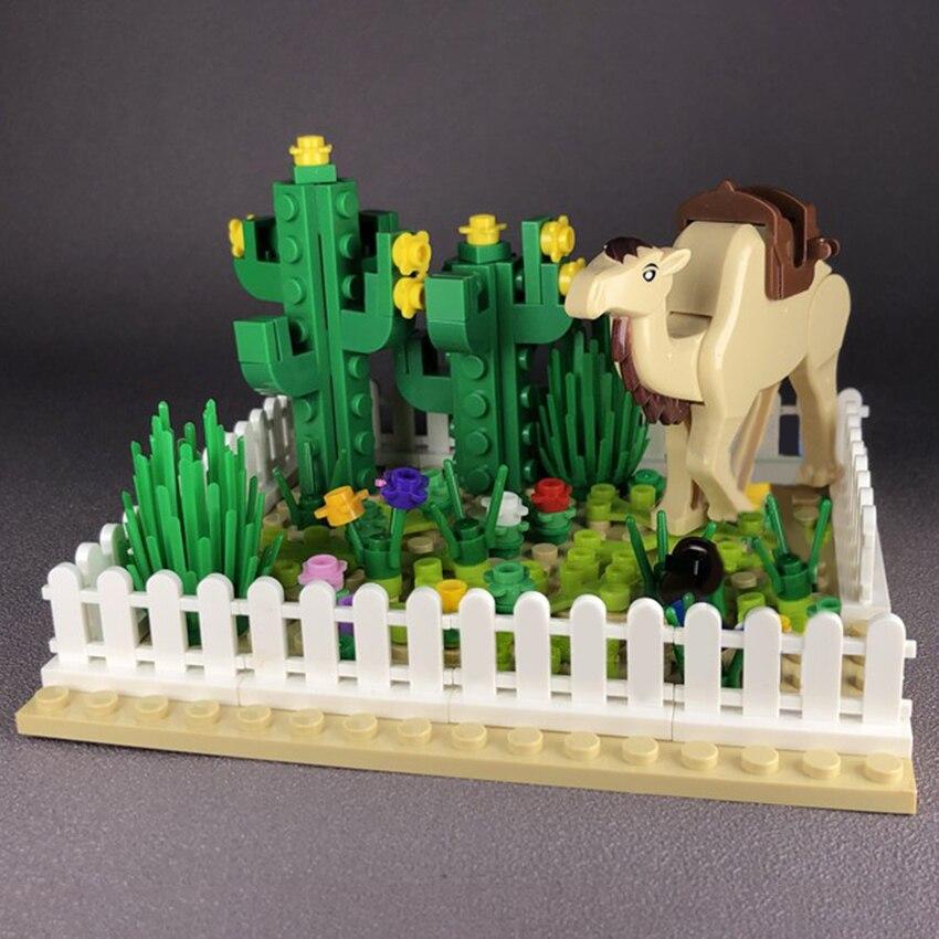 Bloques de construcción del desierto Oasis, Camel, Cactus, planta, vista de la calle, accesorios, figuras MOC, juguetes artesanales para niños, regalos