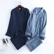 Spring Mens Crepe Gauze Pajamas Cotton Solid Pijamas Elastic Waist Lounge Wear Men Nightwear Plus Si