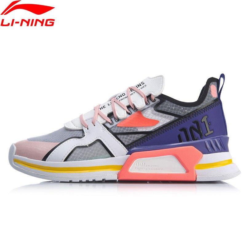 Li-Ning Frauen 001 T1000 Klassische Lifestyle Schuhe Atmungsaktiv Mono Garn Weiche Retro Papa Schuhe Futter li ning Sport turnschuhe AGLP022