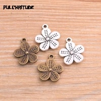 pulchritude 16pcs 1720mm metal alloy two color double sided flowers charms plant pendants for jewelry making diy handmade craft