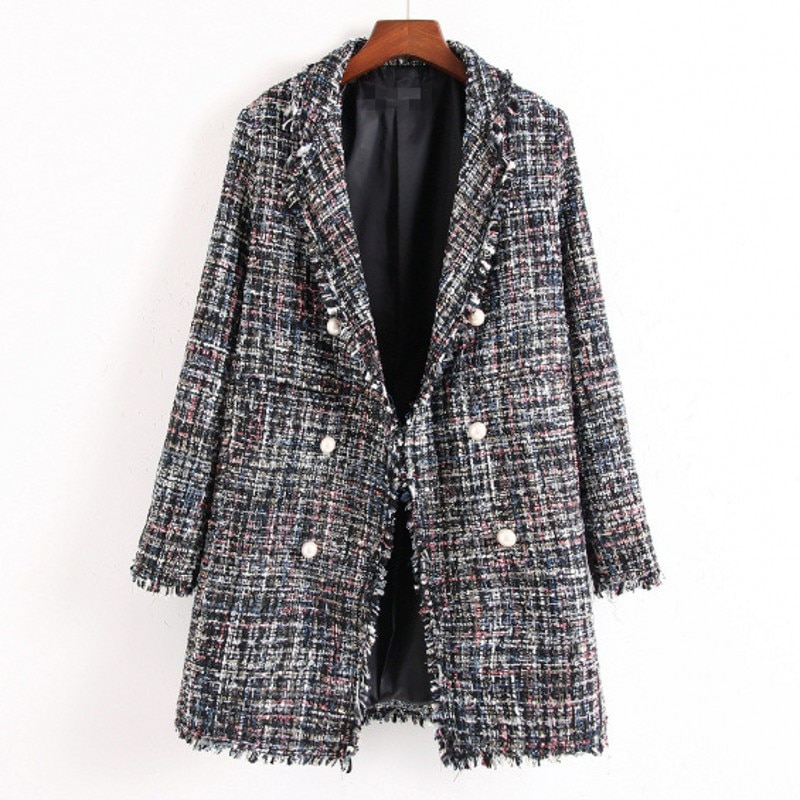 Nueva talla grande Otoño Invierno mujer Abrigos moda Turn-Down Collar doble botón Plaid abrigo de mezcla de lana para mujer abrigo