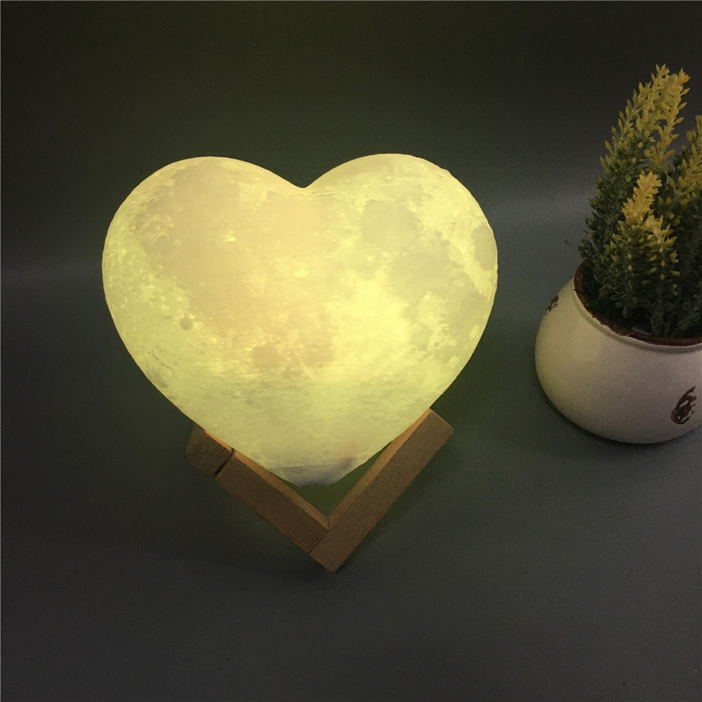 USB 3D Night Light Fixtures Heart Shape Moon Lamp Levitating Rechargeable Led Color Change Touch Lig