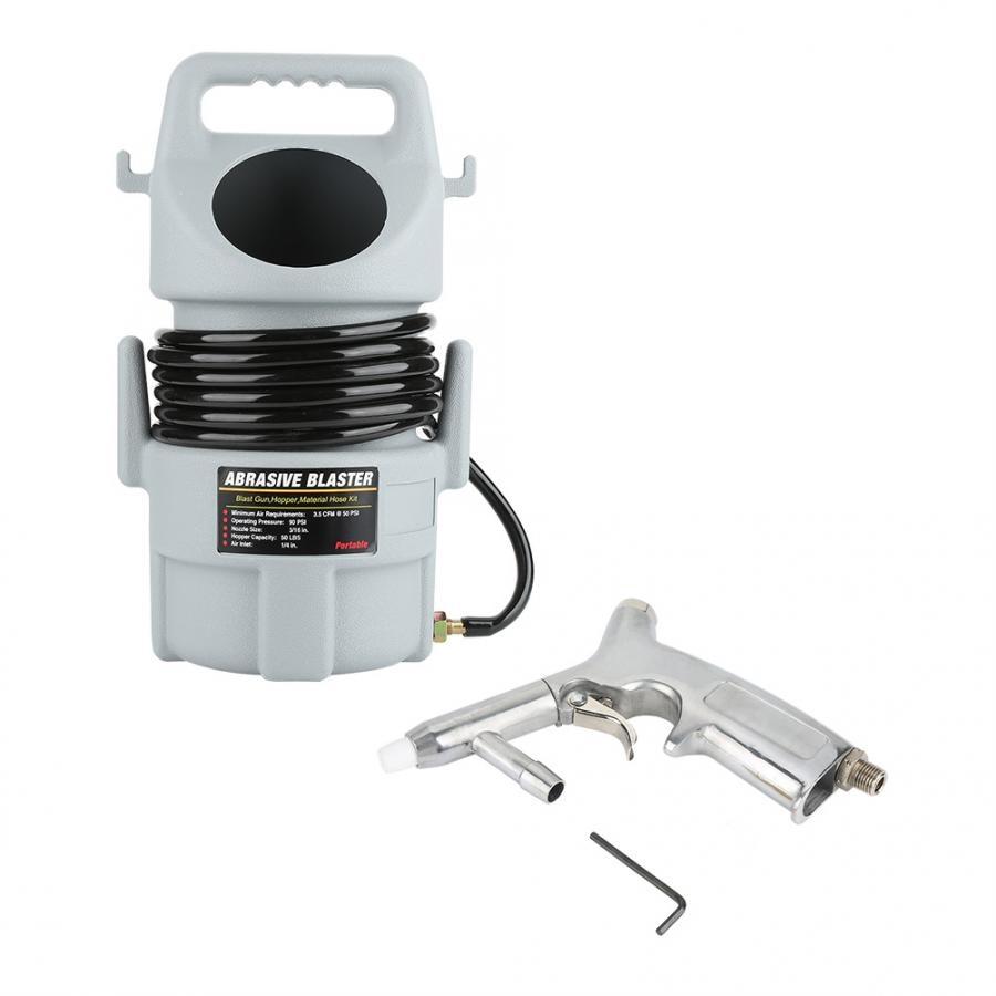 Portable Pneumatic Sand Blaster Kit Sandblasting Gun 15 ft Hose 50 lb. Hopper Pneumatic Tool