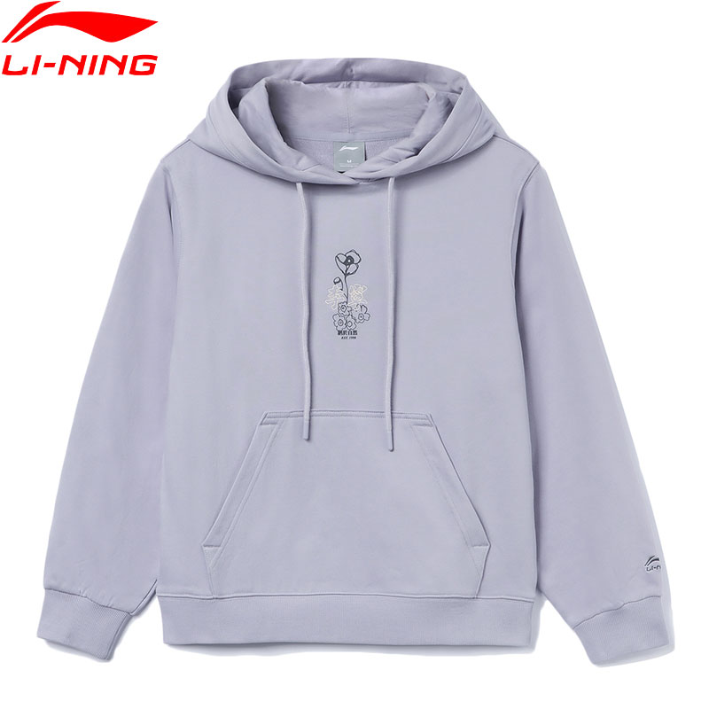 Li-Ning Women The Trend PO Knit Hoodie Loose Fit 88%Cotton 12%Polyester Floral Print LiNing Sports Cozy Hooded Pullovers AWDR320