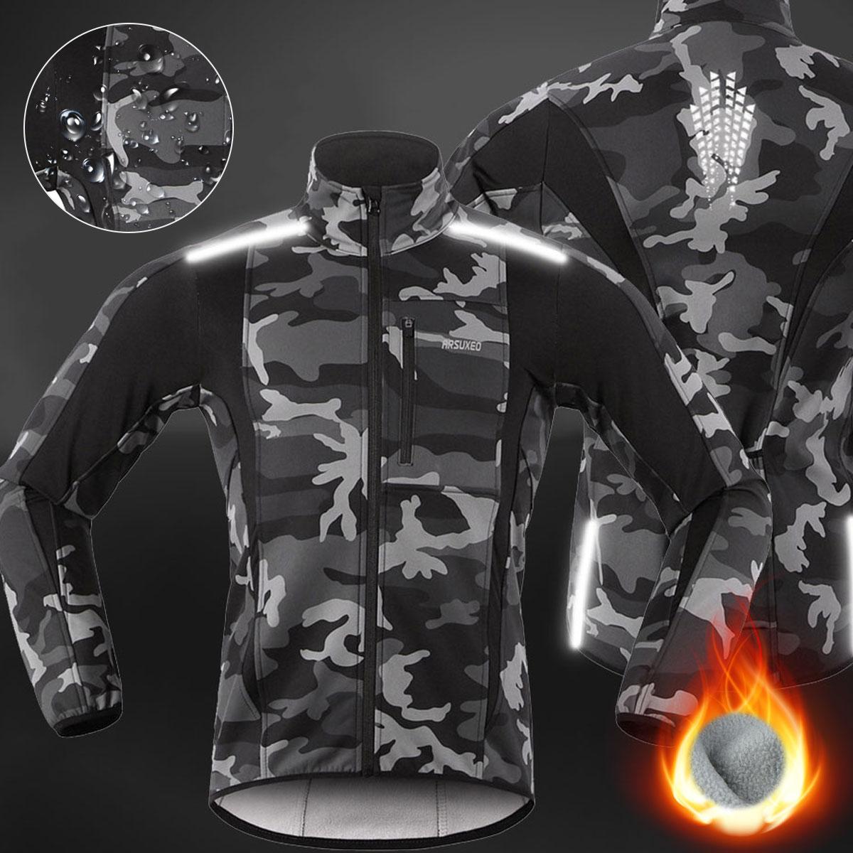 Chaqueta térmica de lana para ciclismo para hombre, ropa para bicicleta de montaña a prueba de viento, impermeable, Jersey largo, chaqueta de viento para correr