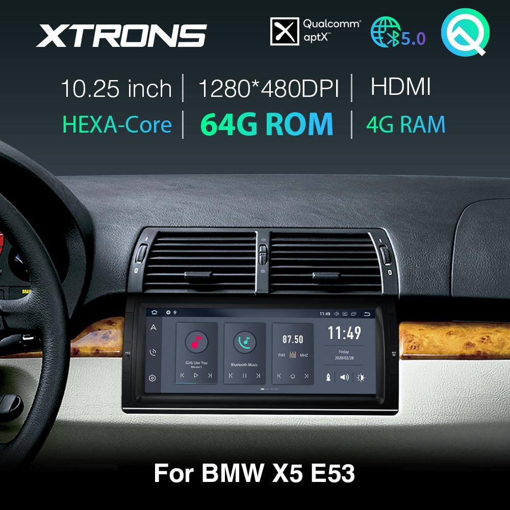 "XTRONS Qualcomm Bluetooth AptX 5,0 10,25 ""IPS Android 10,0 PX6 coche reproductor estéreo GPS para BMW X5 E53 1999- 2004, 2005 de 2006 SIN DVD"