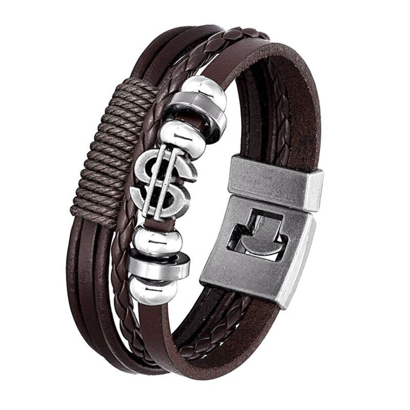 2020 Fashion Bracelet Leather Multi-layer Dollar Bracelet Mens Womens Retro Punk Rock Lady Alloy Pendant Jewellery