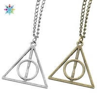 fashion jewelry vintage charm triangle deathly hallows geometric pendant necklace hot