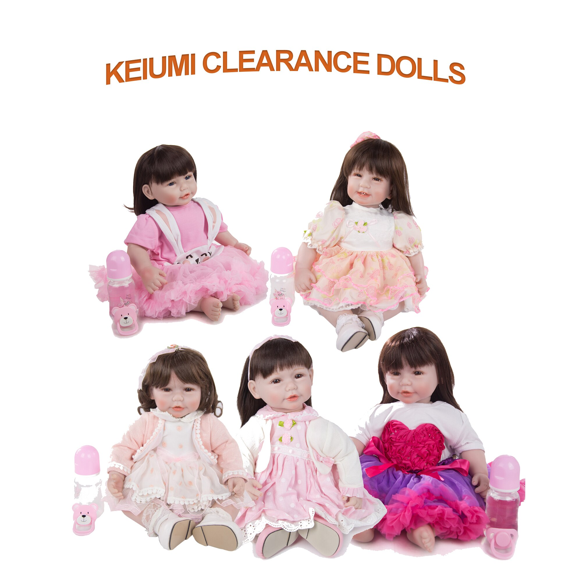 Muñeca de juguete KEIUMI de silicona de 22 pulgadas Rebron muñeca de juguete bebés Reborn juguete con el precio más bajo en venta