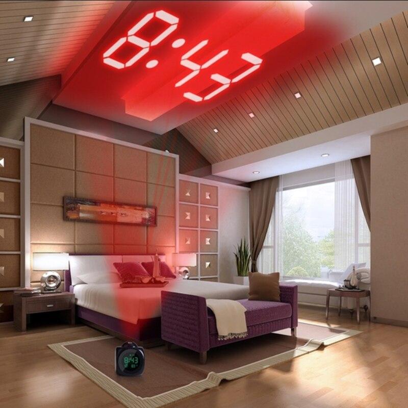 Alarma reloj con luz de noche con lámpara de proyector, temperatura de voz, proyección Digital de tiempo en el techo de la pared para la decoración de la Mesa del hogar