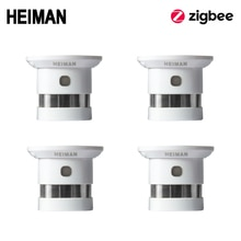 HEIMAN Zigbee 화재 경보 연기 감지기 4pcs 스마트 홈 시스템 2.4GHz 고감도 안전 예방 센서 무료 배송