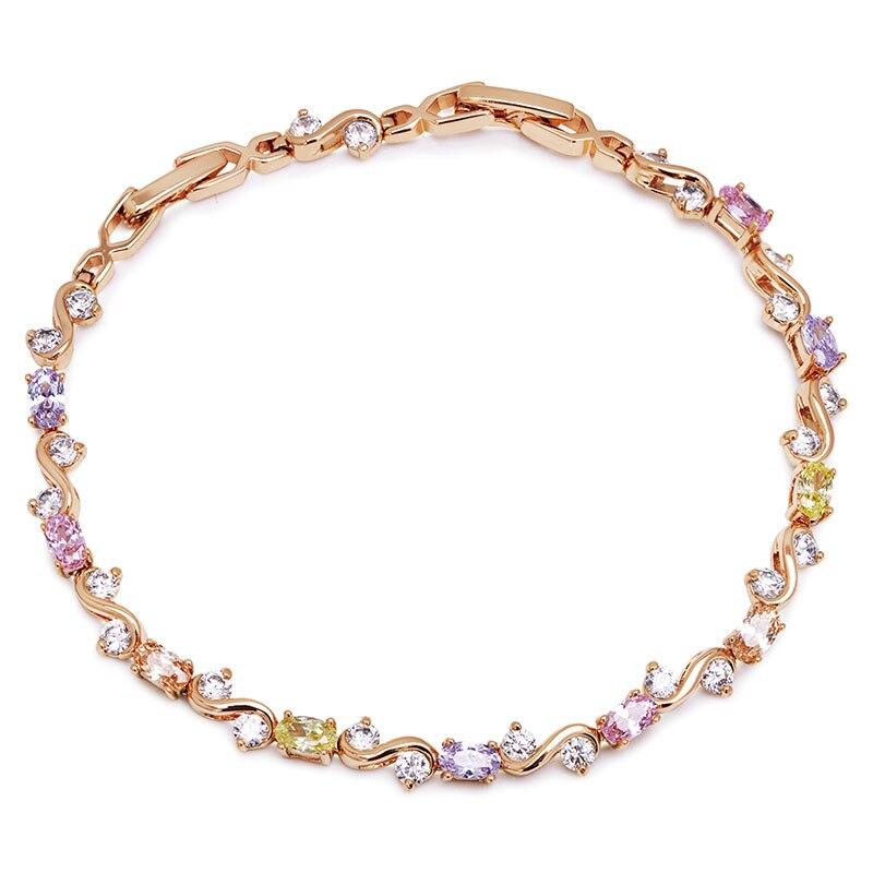MxGxFam ( 20 см x 4 мм) золотой цвет 18 k Многоцветный CZ браслеты для женщин AAA + циркон по оптовой цене