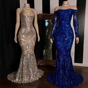 Sparkly Mermaid Sequined Prom Dresses 2020 Royal Blue Long Sleeve Forma Party Evening Gowns Robe De Soiree