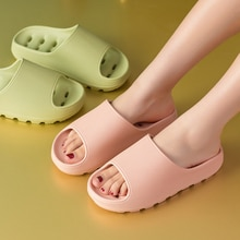 Summer Women Slippers Beach Draining Hole Eva Soft Sole Platform Shower Thick Sandals Men Indoor Bat