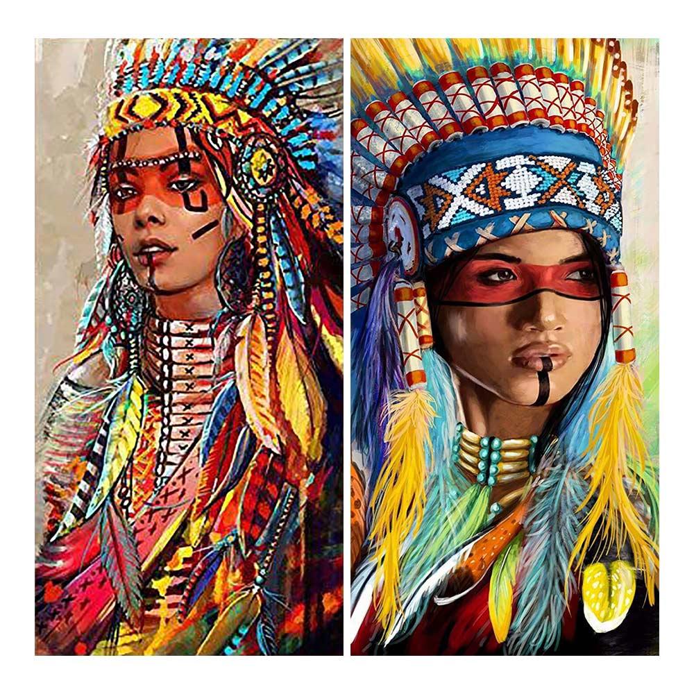 American Indian Frauen Diamant Malerei Runde Voller Bohrer Porträt Nouveaute DIY Mosaik Stickerei 5D Kreuz Stich home decor geschenk