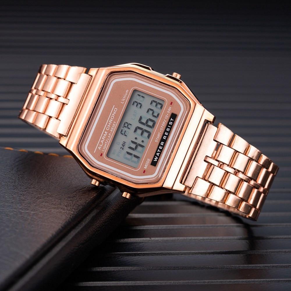 AliExpress - Luxury Branded Women's Watch Electronic Clock Metal Alloy Watchband Women Wrist Watches Sports Digital Wristwatch Montre Femme