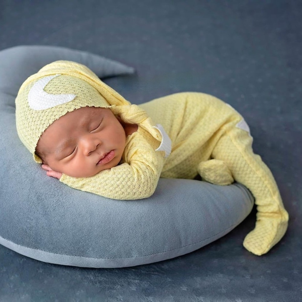 Newborn Photography Clothing Top Knot Hat+Jumpsuit 2Pcs/set Baby Photo Props Accessories Studio Newborn Infant Shooting Clothes