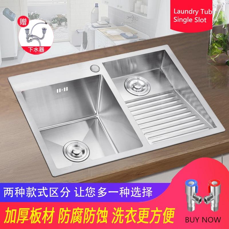حوض غسيل يدوي من الفولاذ المقاوم للصدأ ، حوض غسيل بفتحة واحدة ، سميك ، 304 ، مع لوح غسيل ، مدمج ، شرفة ، وعاء مزدوج