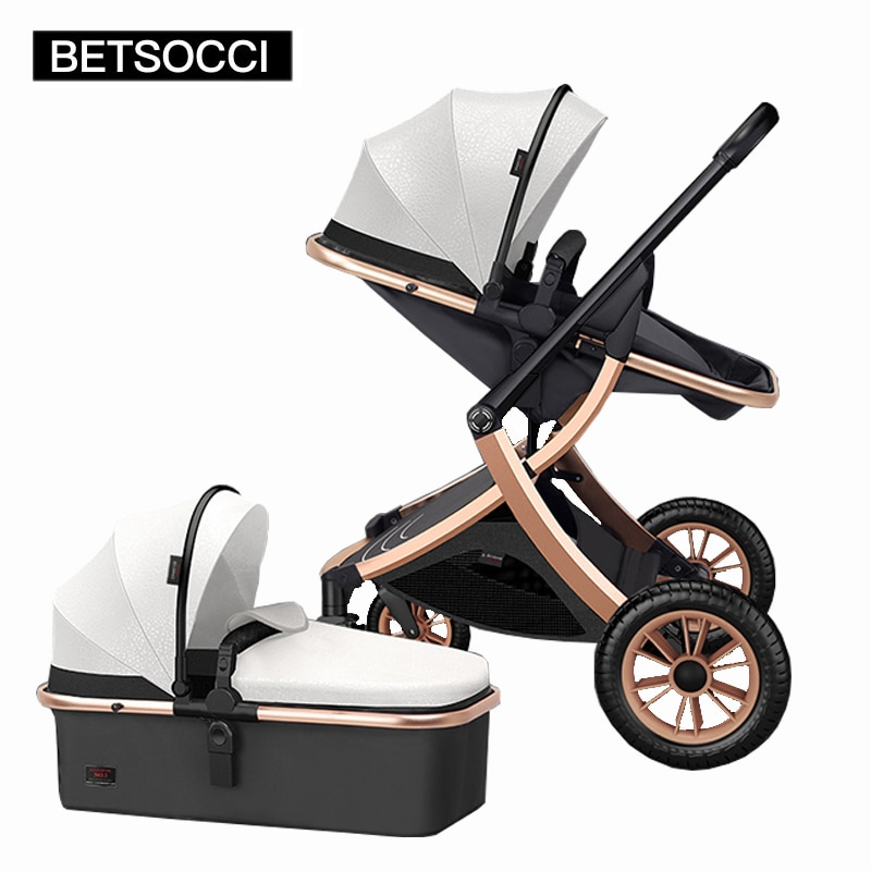 Baby stroller 2 in 1 high landscape can sit, recline, two-way shock absorber, lightweight folding trolley, free shipping