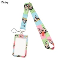 g1829 fashion cartoon girls necklack lanyard key gym strap multifunction mobile phone decoration with card holder cover