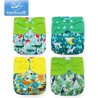 eezkoala 4pcsset eco friendly cloth diaper fast dry washable baby cloth nappies reusable baby pocket nappy
