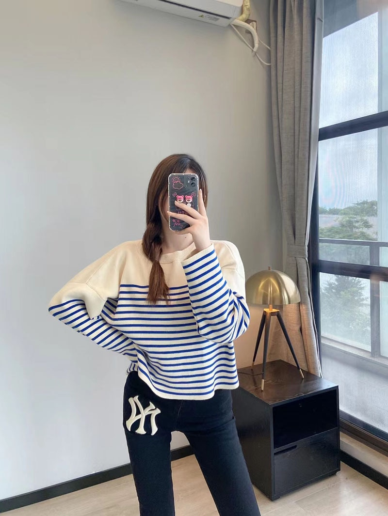 Beautiful stripes in autumn and winter this year, wide sleeve drop shoulder high waist short loose women's wool sweater enlarge