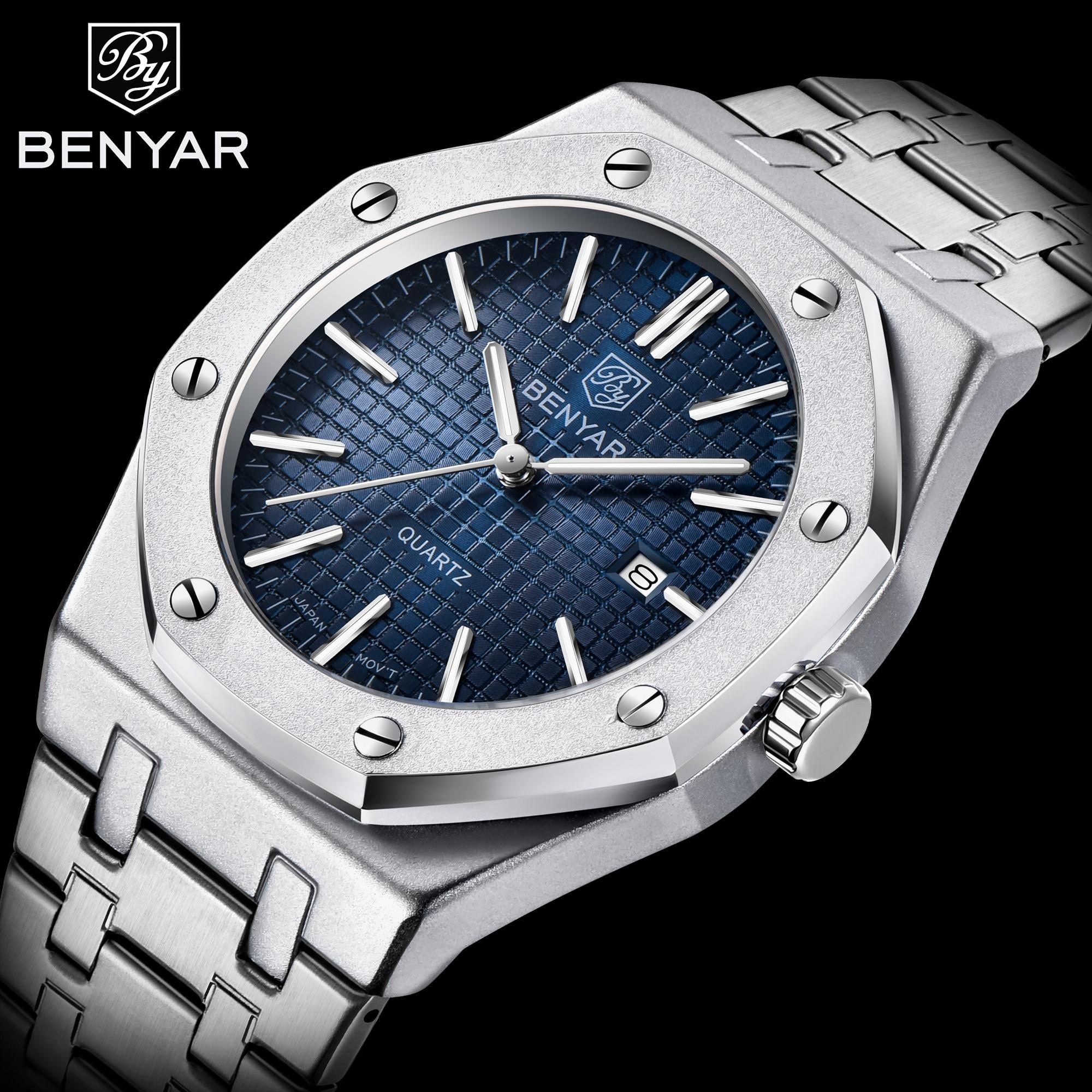 BENYAR Top Luxury Brand Quartz Watch Men 2020 New Style Silver Blue Stainless Steel Band Military Wa