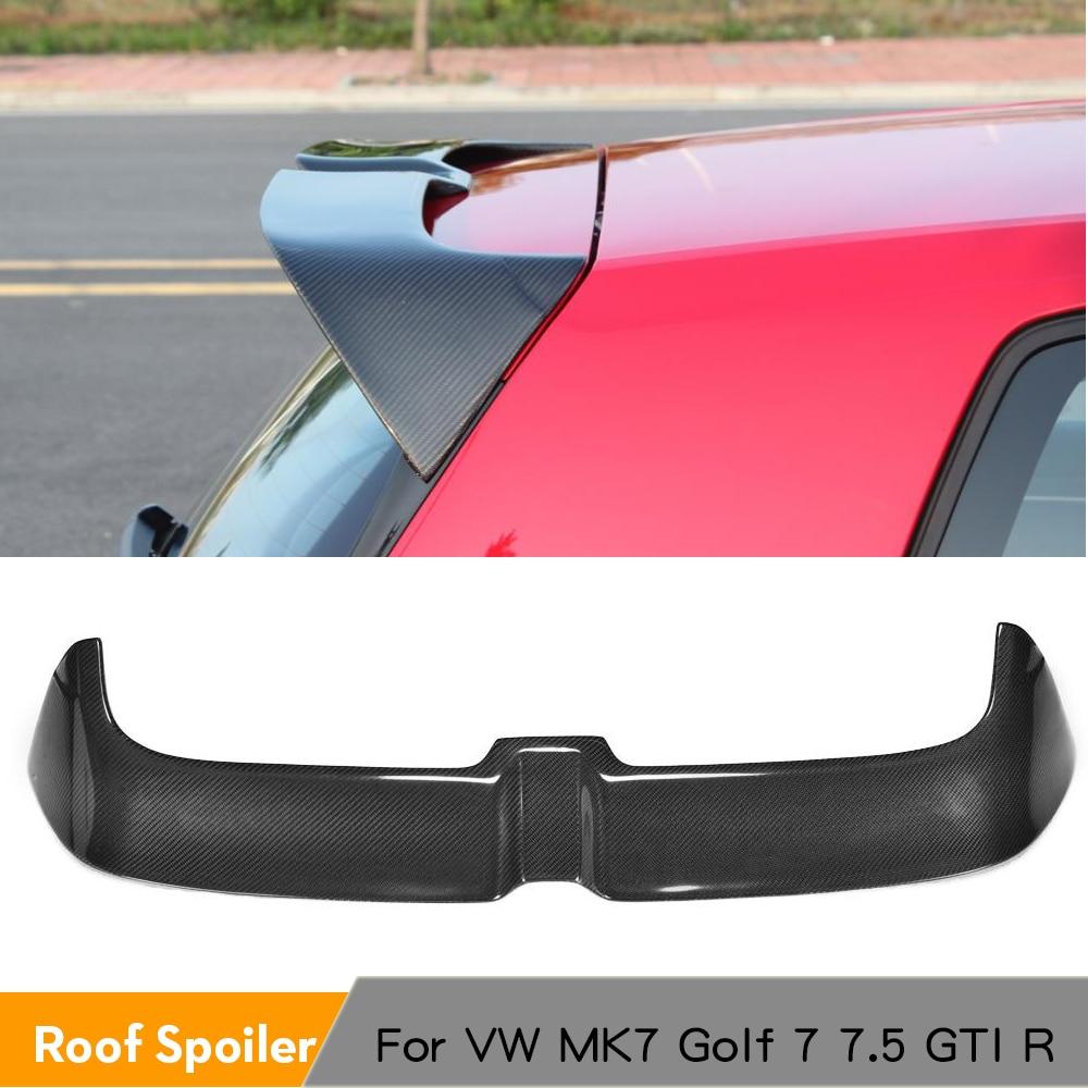 Mk7 spoiler traseiro do telhado do tronco do carbono para volkswagen vw golf 7 7.5 vii mk7 7.5 gti r 2014 - 2019 janela asas abs preto brilhante