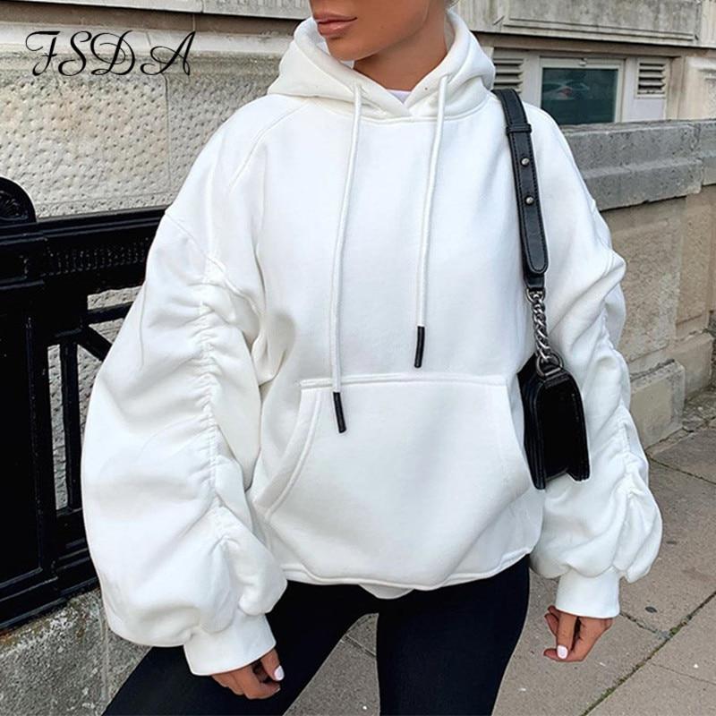 Fsda manga longa ruched puff oversized moletom feminino branco 2020 moletom com capuz cinza solto outono inverno pulôver streetwear topos