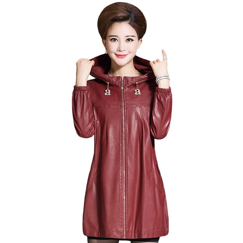 النساء بولي Leather سترة جلدية الشتاء الخريف عارضة طويلة فو معطف جلد مقنعين سترة واقية الإناث سميكة زائد القطن
