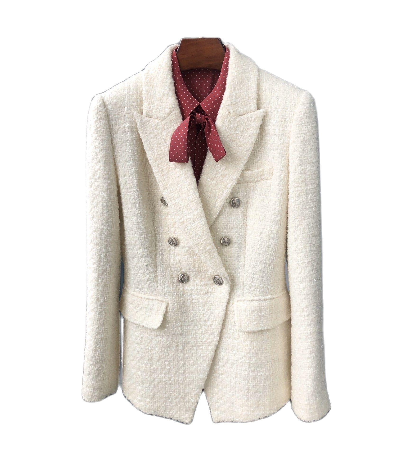 2021new women beige tweed suit fashion tweed coat women jackets women's double breasted jackets white tweed jackets dropshipping