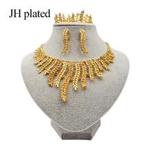 Jhplaqué mode africain éthiopien érythréen brillant bijoux or ensembles collier/boucles doreilles/anneau/Bracelet cadeaux de mariage