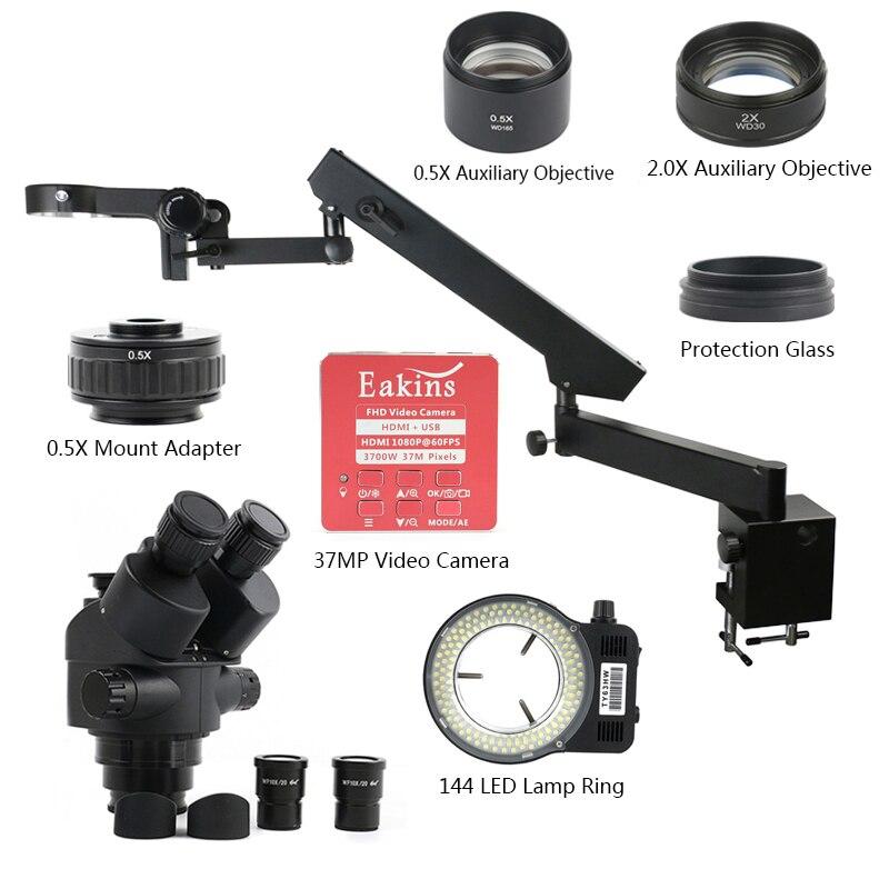 3.5X 7X 45X 90X 37MP HDMI USB فيديو كاميرا توضيح ذراع عمود المشبك Simul البؤري الصناعية ثلاثي العينيات ستيريو المجهر
