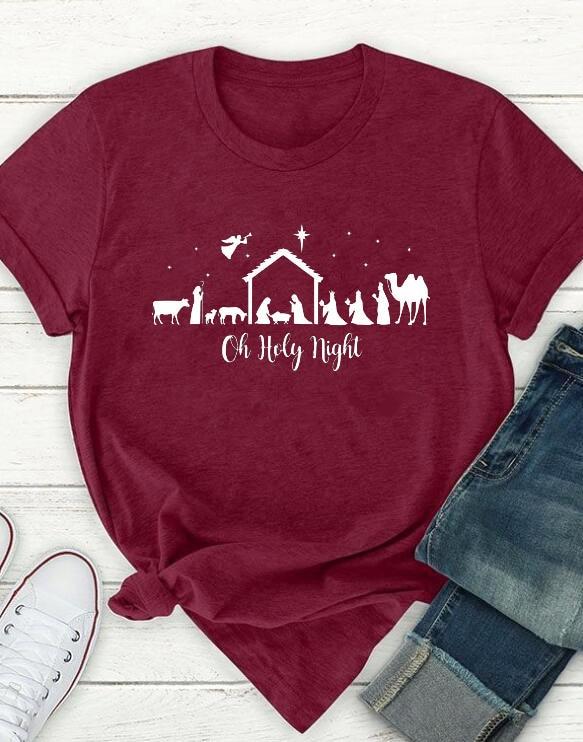 Oh Holy Night-Camiseta estampada de moda hípster, ropa roja de algodón para...