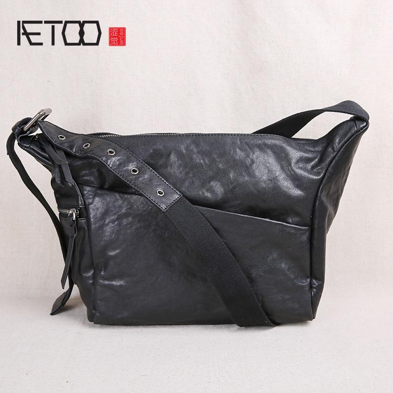 AETOO-حقيبة جلد أصلية للرجال ، حقيبة كتف ريترو ، حقيبة جلدية ذات سعة كبيرة ، أزياء غير رسمية