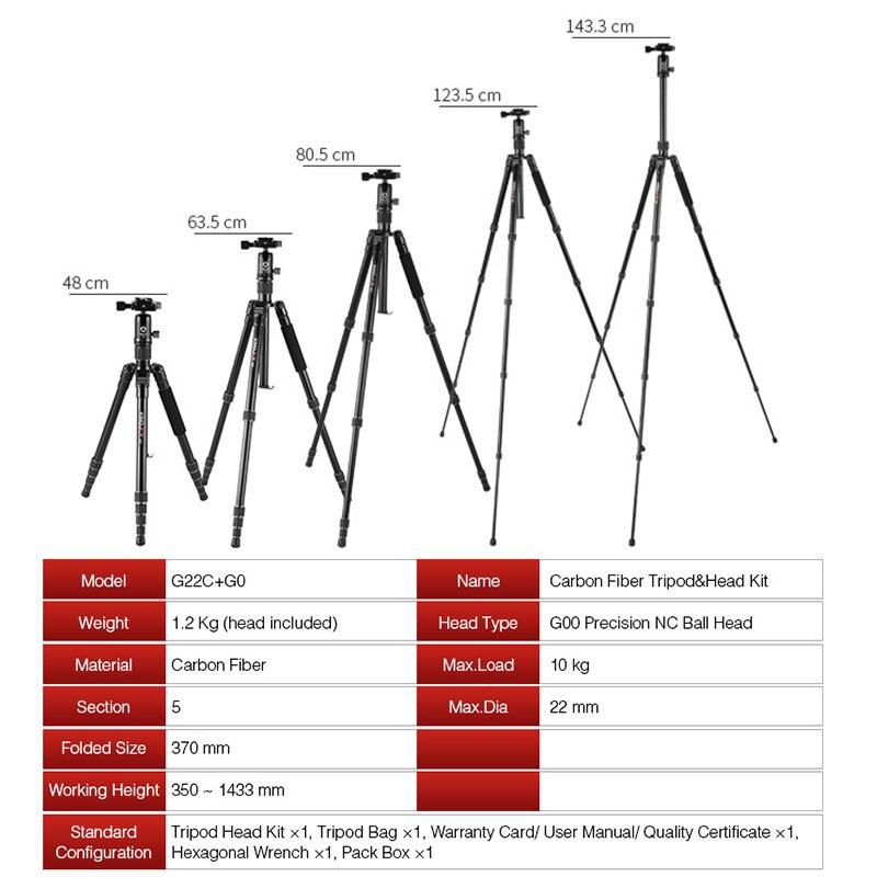 KINGJOY G22C Professional carbon fiber tripod for digital camera tripode Suitable for travel Top quality camera stand 143cm max enlarge