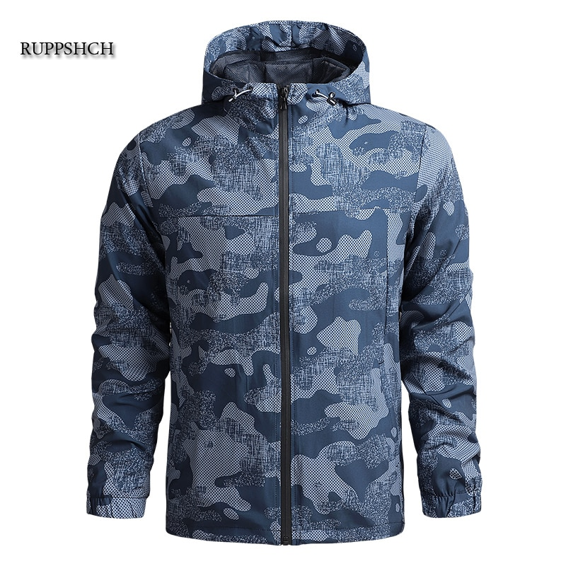 Camouflage Thin Jacket Men Hooded Jacket Windbreaker Tactical Autumn Breathable Jacket Outdoor Wear-