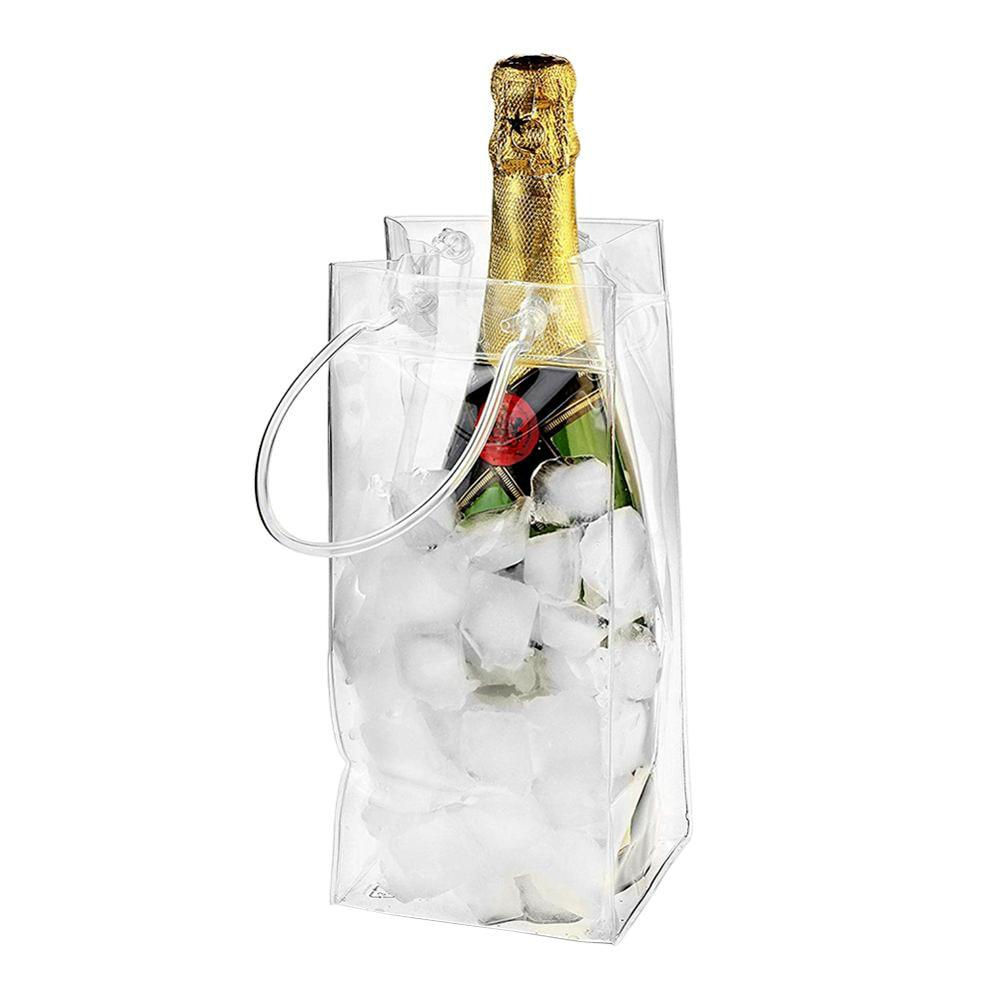 كيس ثلج PVC مقاوم للتسرب ، كيس ثلج شفاف ، دلو نبيذ محمول ، مبرد زجاجة شمبانيا بمقبض حمل
