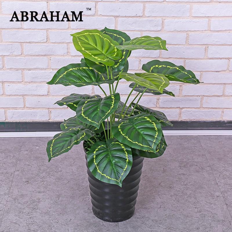 Plastique Monstera 70cm 18 cm   Grand arbre artificiel, fausse plante tropicale, feuilles de palmier vert, fausse feuille de tortue, pour décor de maison et de bureau