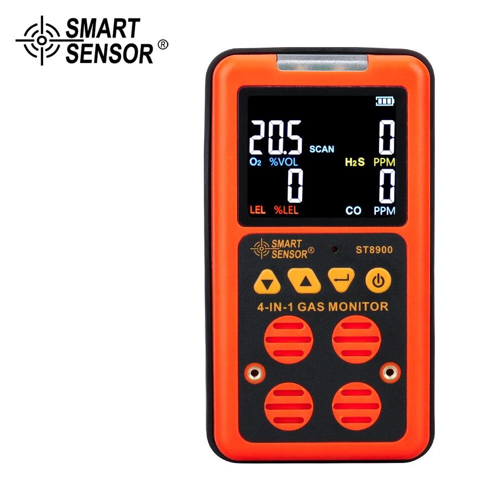 Detector Digital de Multi Gas 4 en 1 O2 H2S CO LEL Analizador de Gas oxígeno hidrógeno sulfuro monóxido de carbono Monitor de Gas Combustible