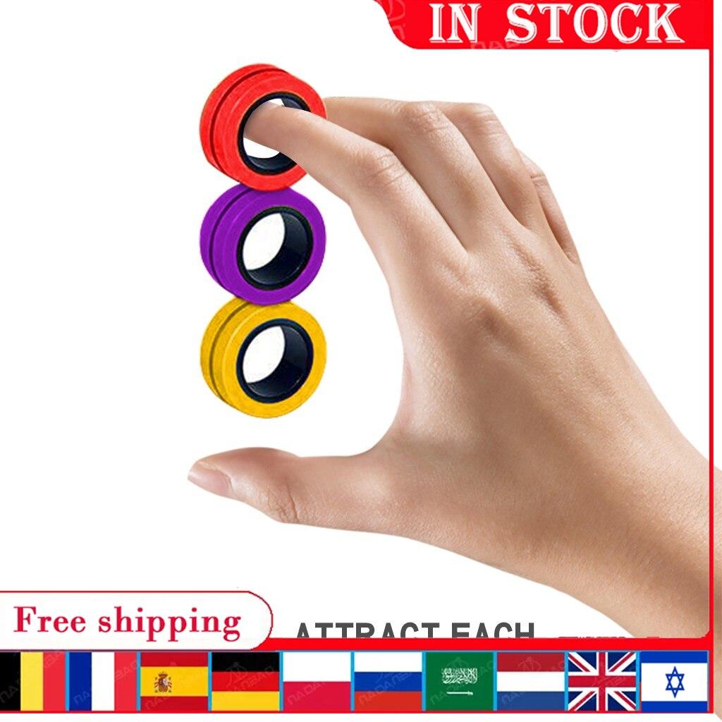 Fidget descompressão fingertip spinner brinquedo anti-stress dedo anéis magnéticos adulto crianças ansiedade alívio magia anel adereços
